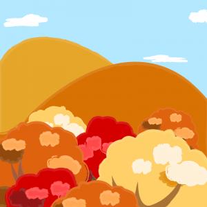 紅葉した山・森
