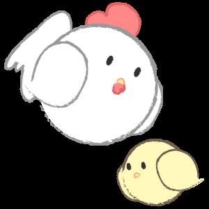 丸いニワトリとヒヨコ