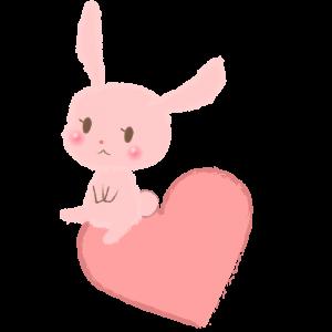 ハートに座るウサギ