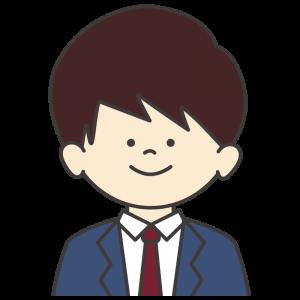 学生服(紺色ブレザー/赤ネクタイ)を着た男子生徒