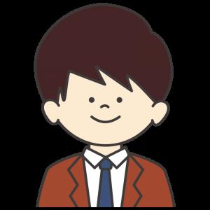 学生服(茶色ブレザー/紺ネクタイ)を着た男子生徒