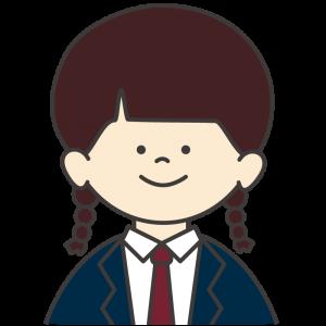 学生服(紺色ブレザー/赤ネクタイ)を着た女子生徒