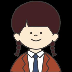 学生服(茶色ブレザー/紺ネクタイ)を着た女子生徒
