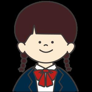 学生服(紺色ブレザー/赤リボン)を着た女子生徒