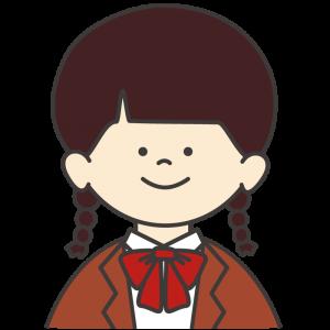 学生服(茶色ブレザー/赤リボン)を着た女子生徒