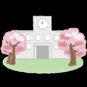 桜に囲まれた校舎