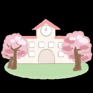 桜に囲まれた園舎