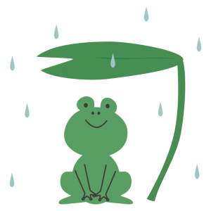 雨宿りをするカエル