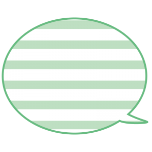 横縞模様の吹き出し(緑色)