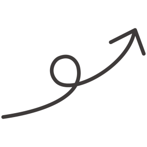 くるんとした矢印(ブタのしっぽ)