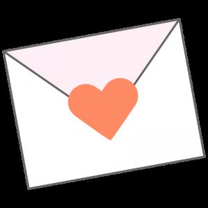 ハートのシールのついたラブレター(手紙、メール)