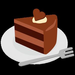 ハートの乗ったチョコレートケーキ