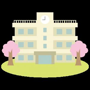 学校の校舎(春・桜)